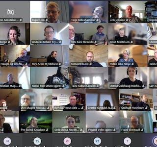 Nesten hundre lokalaviser har hatt tilgang til felles researchmateriale og tilbud om tett oppfølging. Bildet er fra det digitale oppstartsmøtet i mars.