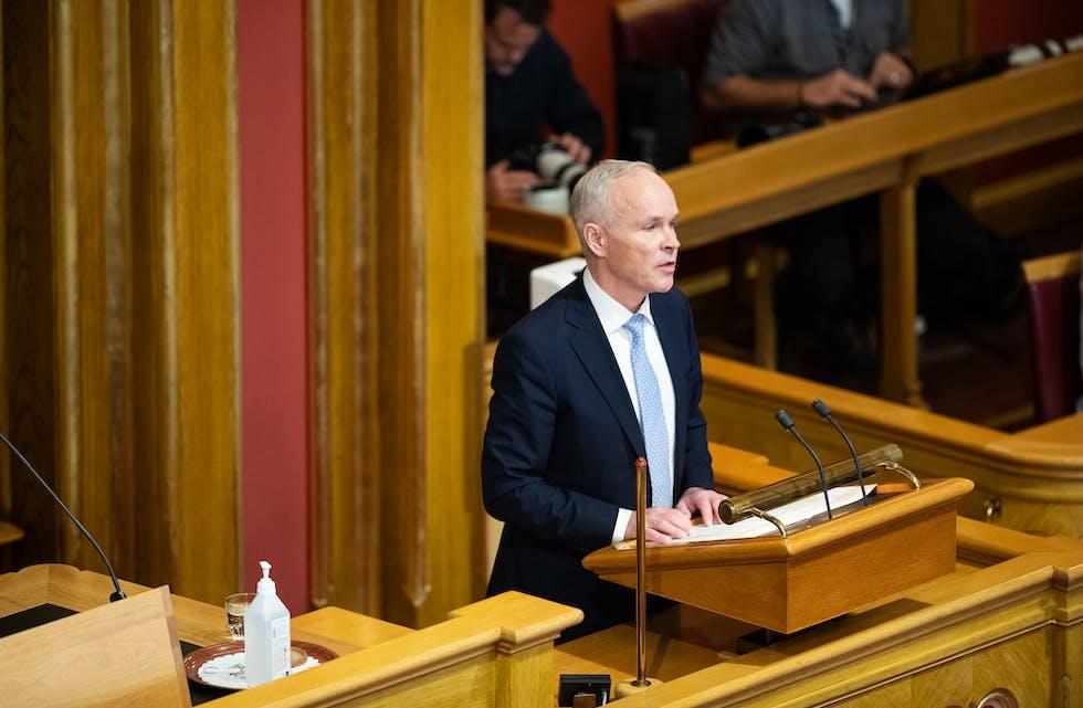 Tyrsdag 12. oktober kl. 10.00 held finansminister Jan Tore Sanner finanstalen når Regjeringa legg fram sitt forslag til statsbudsjett for 2022. Foto: Stortinget